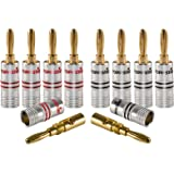 Poppstar 10x High End Bananenstecker, Bananas für Lautsprecherkabel (bis 6 mm²), Lautsprecher, AV Receiver, 24k vergoldete Kontakte (5X schwarz, 5X rot)