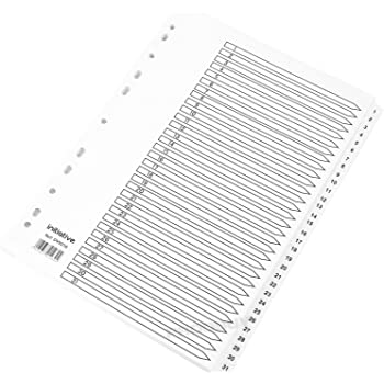 Numbered 1-10 A4 White Index Dividers Colour Mylar Tabbed Card File Ring Binder