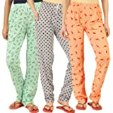 Peach Blossom Women's Cotton Printed Pajama (Pack of 3)