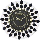Circadian Ajanta Wooden Hand Painted Desginer Wall Clock for Home Living Room Office Bedroom (Black)