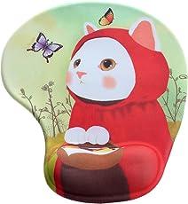 HIMRY Handgelenkauflage Mouse pad mit Gel, Cartoon-Stil Handgelenkunterlage Mouse pad mit Gel, Gel Mauspad Tier Motiv, Rote Katze, KXC5100 Redcat