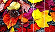 999Store Framed Ready to Hang Multiple Frames Printed Wooden Frame red Leaves Wall Art Panels for Living Room Painting - 5 Fr