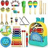 Jojoin 24pcs Instrument de Musique pour Enfant, Bois Percussion pour Bébé avec Ocean Wave Bead Drum, Xylophone, Triangle et A