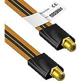 mumbi 26 cm fönstermatning för SAT-kabel (F-koppling till F-koppel) extremt platt