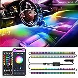 Striscia LED RGB IC Auto con APP, Nobent Luci LED Interne per Auto con 72 LEDs 9 Colori Multicolore Impermeabile,Musica sotto