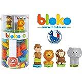 BLOKO – Tube de 100 BIoko avec 4 Figurines 3D Jungle – Dès 12 Mois – Fabriqué en Europe - Jouet de Construction 1er âge – 503