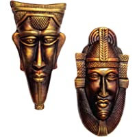 Hand Art Home Decorative Handmade & Hand Painted Terracotta Wall Hanging Copper Egyptian King Queen Decorative Mask Pair