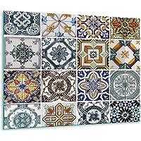 TMK   Copri piano cottura induzione 60x52 cm copertura per piano cottura in vetroceramica 1 pezzi universale per piastre di cottura paraspruzzi tagliere in vetro temprato come decorazione Mosaico