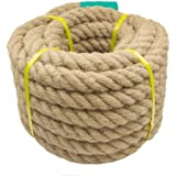 Aoneky Jutetouw 20/25/30/40mm - dik henneptouw in natuurlijke vezels Natural Jute Rope voor tuin, sport, decoratie(40mm x 15m