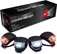 CYCLERR LED Silikonleuchten-Set   Kinderwagen-Beleuchtung mit Batterie   Sicherheitsbeleuchtung Tretroller   Wasserfestes Silikon-Licht   Sicherheitslicht Laufrad Kinder   Einfache Montage