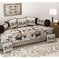 Diwan Set-Ab Home Decor Exclusive Heavy Fabric 500 TC Floral Design Diwan Bedsheet Set of 8 Pieces for Living Room- Coffee Color