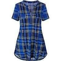 Odosalii Donne Camicette Manica a 3/4 Camicia Scozzese Scollo V Camicia Blusa Casuale Orlo Irregolare Zip Donna…