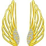 Yumilok -Pendinetes de Alas de ángel para Mujer Niña, en Plata 925, Clip de Oreja de Circón Pendientes de Escalada, Regalo de