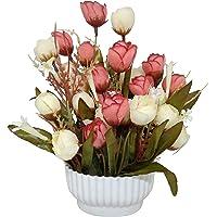 Ethnic Karigari Plastic & Cloth Decorative Beautiful Indoor Natural Looking Artificial Flower Vase (25 cm X 13 cm X 13 cm, Red & White)