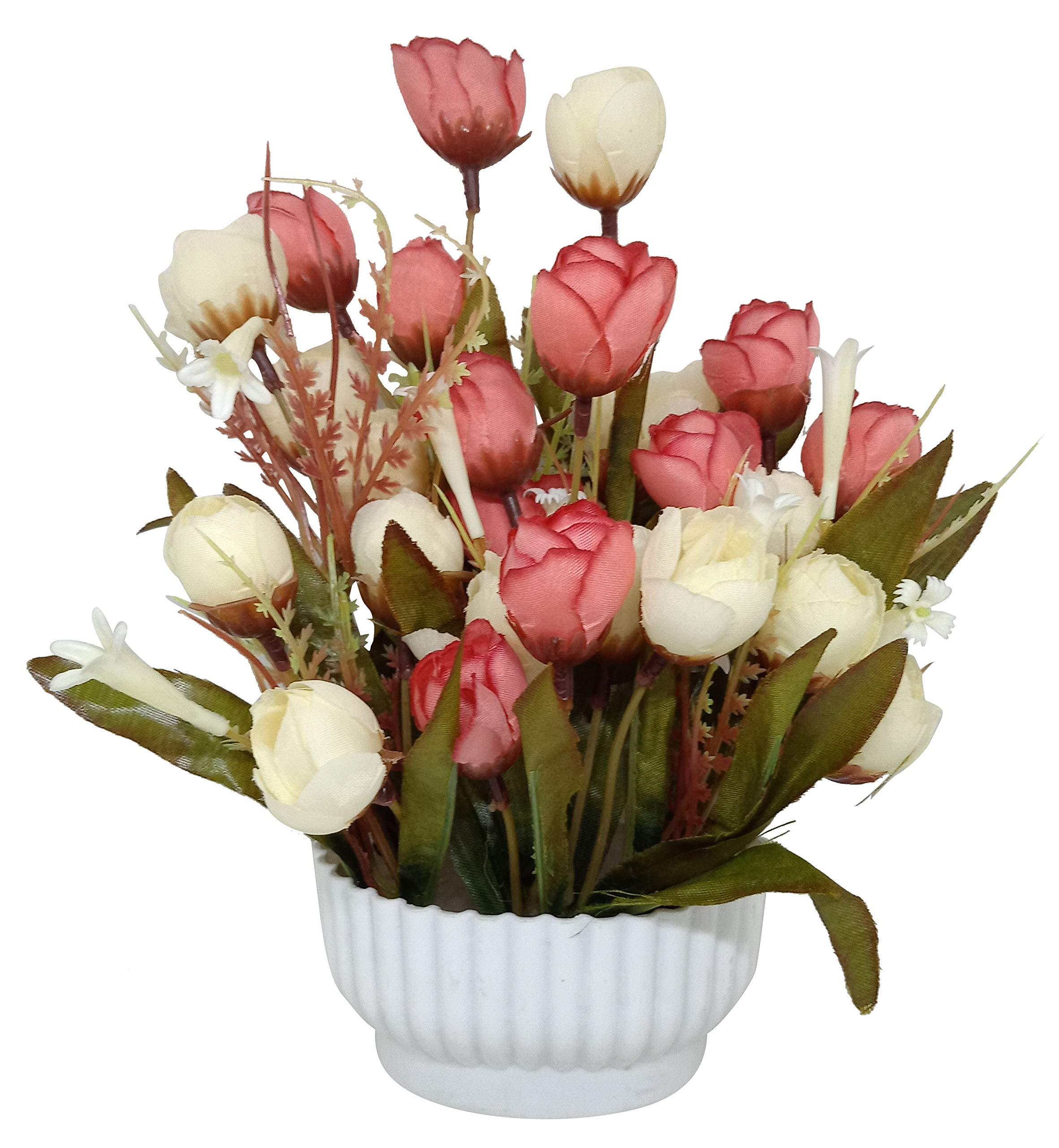 234 & Ethnic Karigari Decorative Beautiful Indoor Natural Looking Artificial Flower Vase Artificial Flower with Melamine Pot