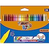 Bic Kids Plastidecor Pastelli Colorati, Confezione da 24 Pastelli Colori Assortiti, Ottimi per Colorare a Scuola e a Casa