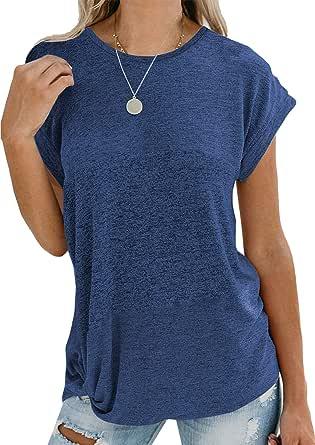 Yookeor T Shirt Damen Sommer Oberteile Patchwork Loose Fit Kurzarm/Langarm Shirt Bluse Tunika