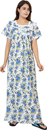 Himanshu Handloom Women's Cotton Block Print Maxi Nighty