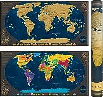 Pootack Mappa del mondo, Mappa da Grattare 840 * 420mm - Grattare Island, paese, città che hai visitato - Perfetto per viaggiatori / esploratori / collezionisti ecc. - Con adesivi + Strumenti d
