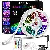 Aogled Striscia LED 5m,kit Cambio Colore RGB 5050LED con Telecomando a 24 pulsanti,Strisce Luminose con Controller,Strisce LE