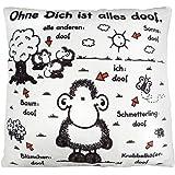 Sheepworld 42378 kleines Plüsch-Kissen mit Spruch Ohne Dich ist Alles doof, 25 cm x 25 cm Zierkissen, mehrfarbig