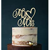 Cake Topper, Mr & Mrs, taartprikker, taartfiguur acryl, taartstandaard etagère bruiloft bruidstaart taartopsteker (hout (echt