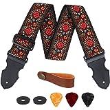 Sangle Guitare, Réglable Sangle de Coton avec Extrémités en Cuir, Vintage Tissage Jacquard Brodée en Motif Fleur, pour Basse