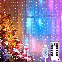 Yizhet Lichtervorhang 3x3m LED Lichterkette LED Lichterkettenvorhang mit 8 Modi, 300LEDs, IP65 Wasserdicht Deko für…
