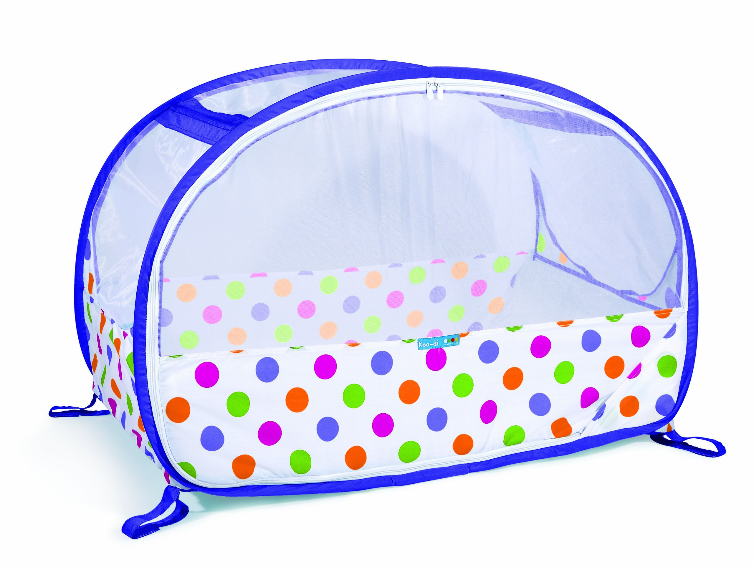 Koo-di Pop Up Travel Bubble Cot (Polka Dot Print)  A comfortable cot ideal for use at home and on holidays or weekends away A polycotton travel cot Ideal 6-18 months and when outgrown, makes an ideal playhouse for little ones 2