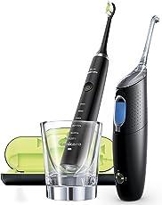 Philips Sonicare Elektrische Zahnbürste und Munddusche HX8491/03 - Diamond Clean Zahnbürste, AirFloss Ultra für die Zahnzwischenraumreinigung, Ladeglas & USB-Ladegerät – Zahnpflege Set in Schwarz