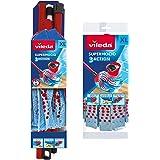 Vileda SuperMocio 3Action XL Serpillère compacte avec Recharge supplémentaire, Plastique, Rouge/Bleu, 12 x 11 x 48 cm