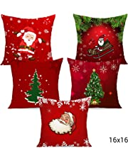 Tied RIBBONSC hristmas Decorations Cushion Covers Set of 5 Christmas Cushion Covers 16 Inch X 16 Inch and Christmas Cap for House