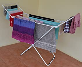PAffy Steel Folding Clothes Drying Stand, White