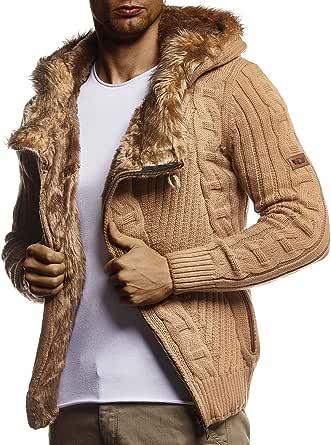 Leif Nelson Men Cardigan Jacket Hood LN-5555
