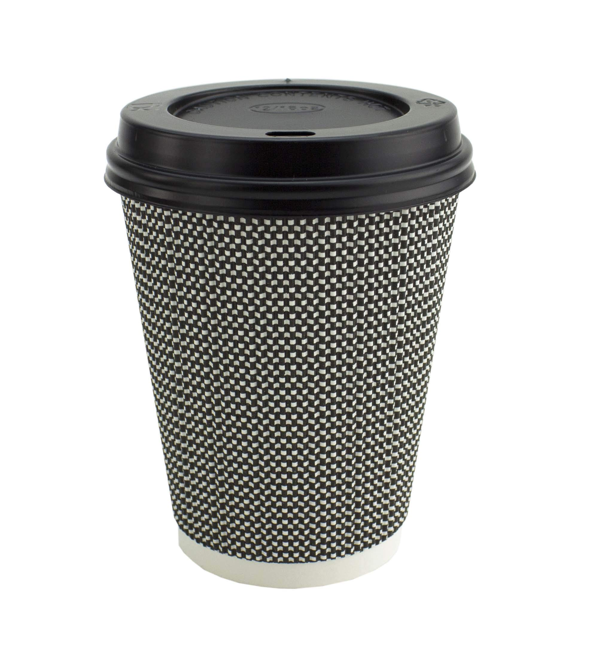 Signature Ripple Hot Cups – Disposable Coffee Cups with Lids for Takeaway Drinks – 50 Cups and 50 Lids – Triple Wall Insulated Paper Cups for Hot Drinks and Leak Proof Lids (12 oz)