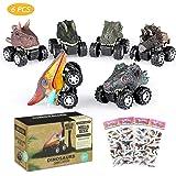 joylink Dinosaurier-Autos für Kinder, 6-Pack Dinosaurier Autos Spielzeug mit großem Reifenrad - Beste Gechenke