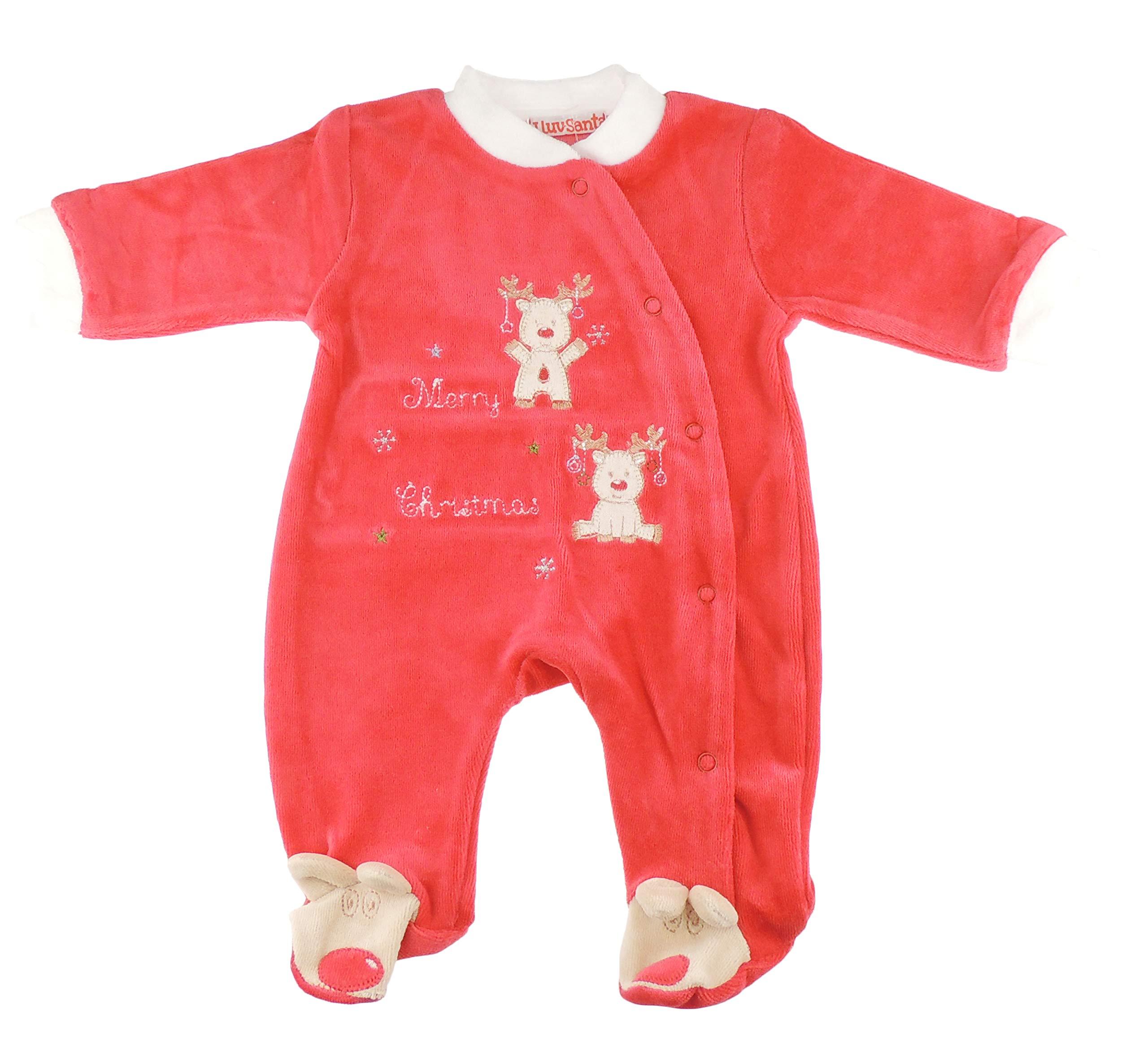 Pelele navideño de terciopelo con diseño de renos rojos rojo rosso Talla:recién nacido 1