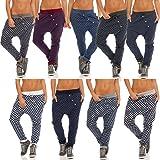 Malito Damen Jogginghose mit Knopfleiste   Sporthose mit Punkten   Baggy zum Tanzen   Sweatpants - Trainingshose 8520