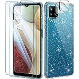 AROYI Coque Compatible avec Samsung Galaxy A12 Paillette,2 Verres Trempés Protection écran 2 pièces Protecteur de caméra,TPU
