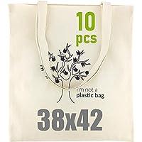 LEVIATAN Schwere Baumwolltasche Jutebeutel mit Zwei Langen Henkeln 38x42cm 144g/m2 Einkaufstasche | Tragetasche | Natur…
