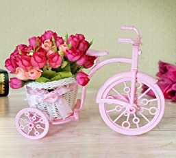 Tied Ribbons Cycle Shape Plastic Flower Vase with Flower Bunches (10.01 cm x 10.01 cm x 21.99 cm, White)
