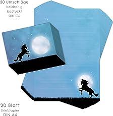 Briefpapier-Set für Kinder PFERD IM MONDLICHT 20 Blatt DIN A4 mit Linien incl. 20 bedruckte Umschläge/ Briefpapier Mädchen / Briefpapier Pferd