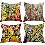 WAZA Set van 4 kussenslopen van zacht linnen, vierkant, decoratie voor bank, bed, huis, auto, moderne stijl, 45 x 45 cm