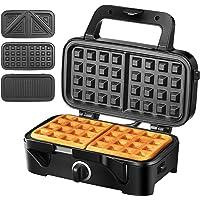 Piastre tostapane 3 in 1 waffle maker 1200w sandwich maker  5 controllo temperatura dimensioni compatte spie LED cool touch grip  nero