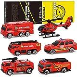 XDDIAS Camion dei Pompieri Modelli, 6 Pcs Lega Modello Veicoli Giocattolo Set, Mini Auto Scala Elicottero Auto di Pattuglia E