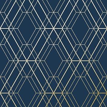 Metro Diamond Geometric Wallpaper Navy Blue And Gold Wow003