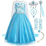 ReliBeauty - Vestido Princesa Elsa Traje Manga Larga para niñas-Azul,con Accesorios,100 cm