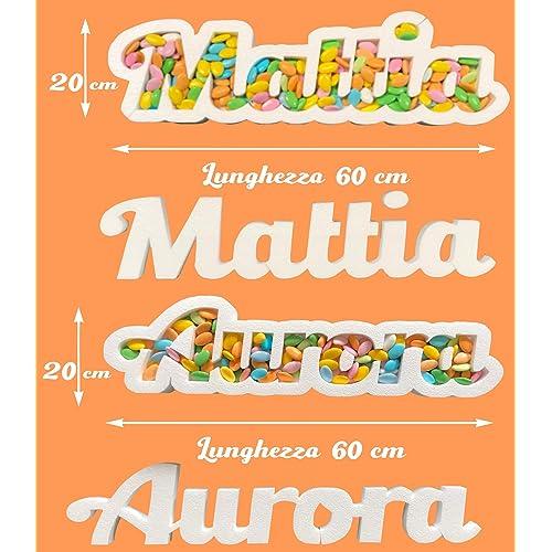 Contenitore Portaconfetti in Polistirolo CON NOME PERSONALIZZATO - Altezza 15/20 cm – Lunghezza 60 cm