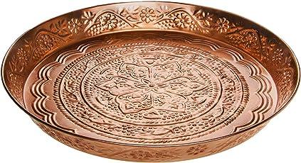 Orientalisches rundes Tablett aus Metall Ferda 40cm groß | Marokkanisches Vintage Teetablett mit Rand | Orient Serviertablett Rund Rutschfest | Orientalische Dekoration auf dem gedeckten Tisch