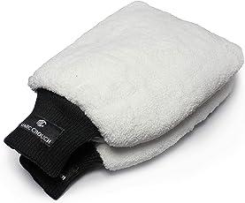 [2er PACK] MARC CROUCH 18x28cm Mikrofaser Handschuhe mit unglaublicher Saugstärke – Perfekt für die Nassreinigung von Autos/KFZ, Motorräder oder im Haushalt – Waschhandschuh mit 4 Laschen für den ultimativen Halt